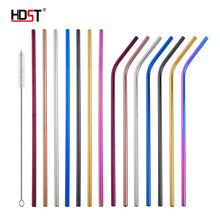 Load image into Gallery viewer, Reusable Stainless Steel Straws Metal Drinking Straws