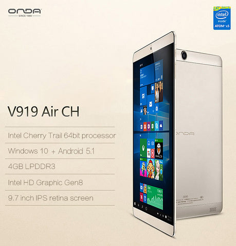 Onda V919 Air CH 9.7 Inch 4GB RAM Intel Cherry Trail 64GB ROM  Windows 10 + Android 5.1 Tablet PC
