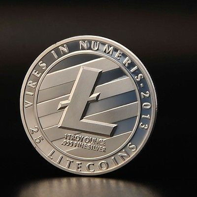 Promotion Litecoin Physical Coin Silver Plated Iron + Case