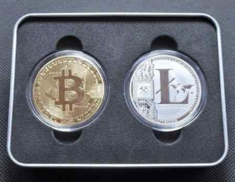 Promotion Bitcoin & Litecoin Physical Coins Gift Gold & Silver Plated Iron + Case