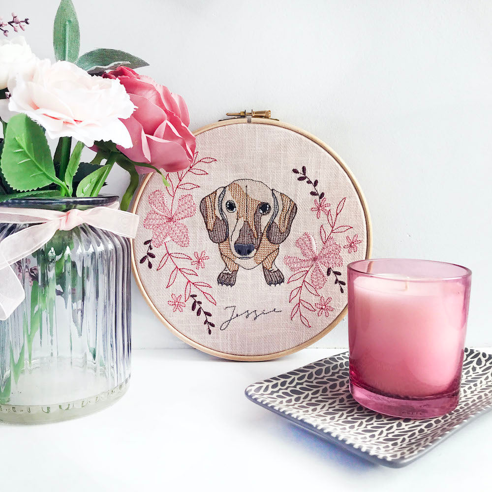 Custom Pet Portrait Embroidery Hoop - Pink