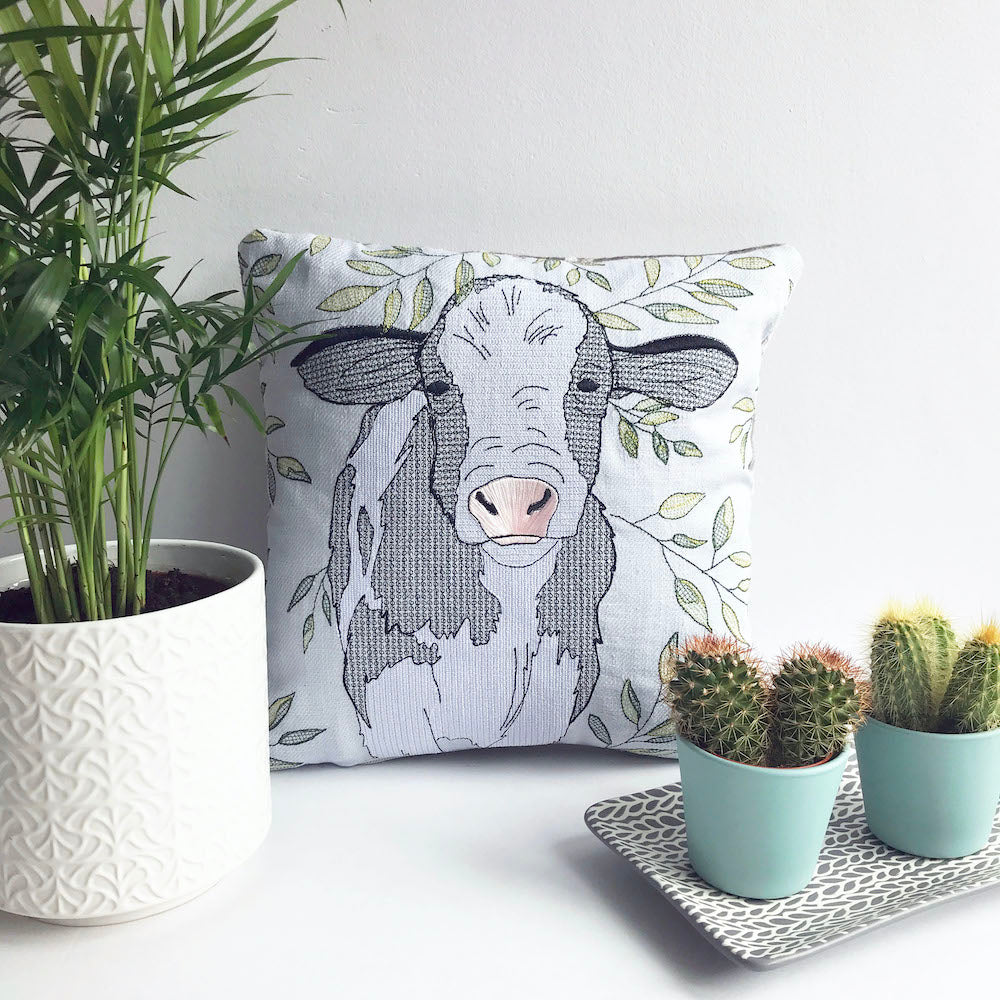 Dove Grey Embroidered Cow Cushion