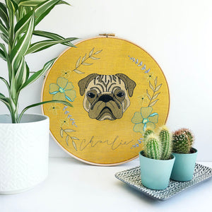 Custom Pet Portrait Embroidery Hoop - Mustard