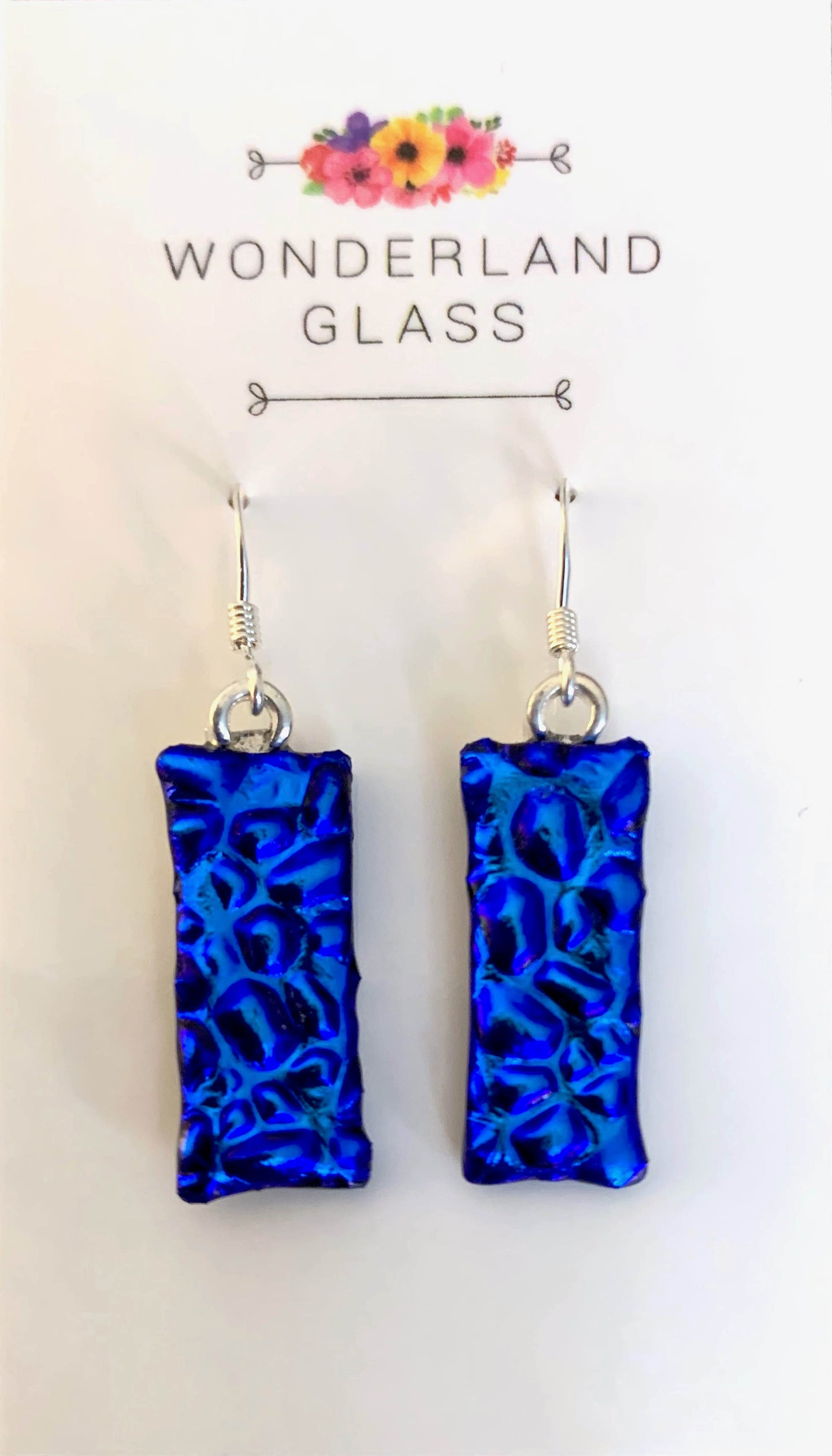Bright Blue Dichroic Glass Drop Earrings.