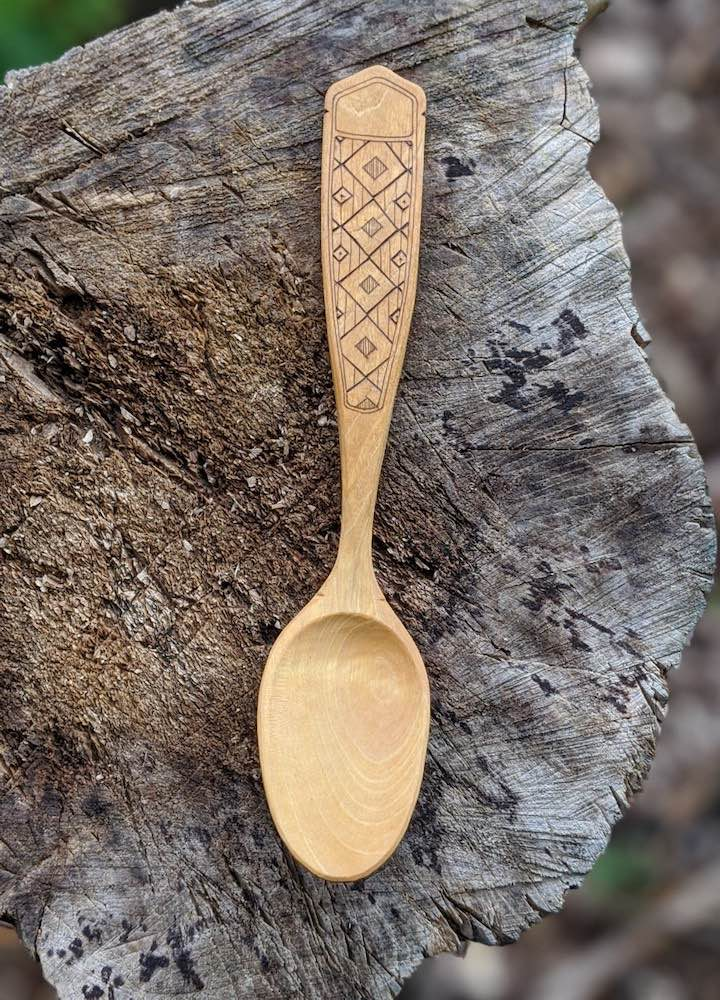 Geometric Cherry Eating Spoon
