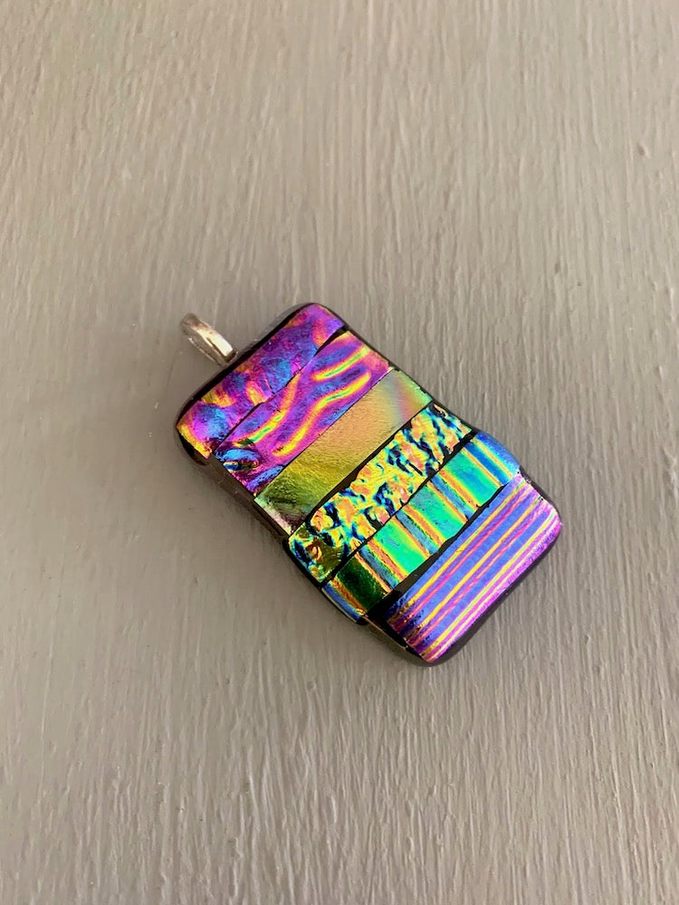 Large Multi Coloured Striped Dichroic Glass Pendant.