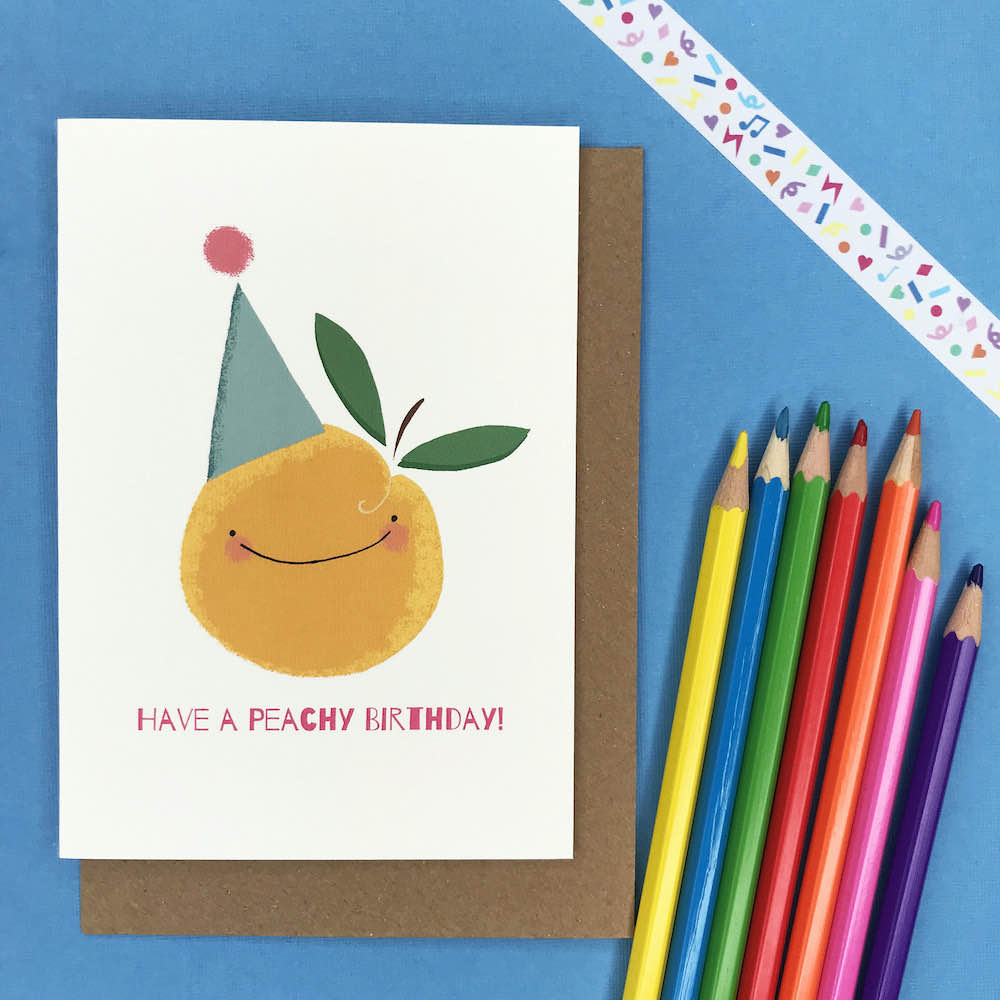 Peachy Birthday – A6 Greetings Card