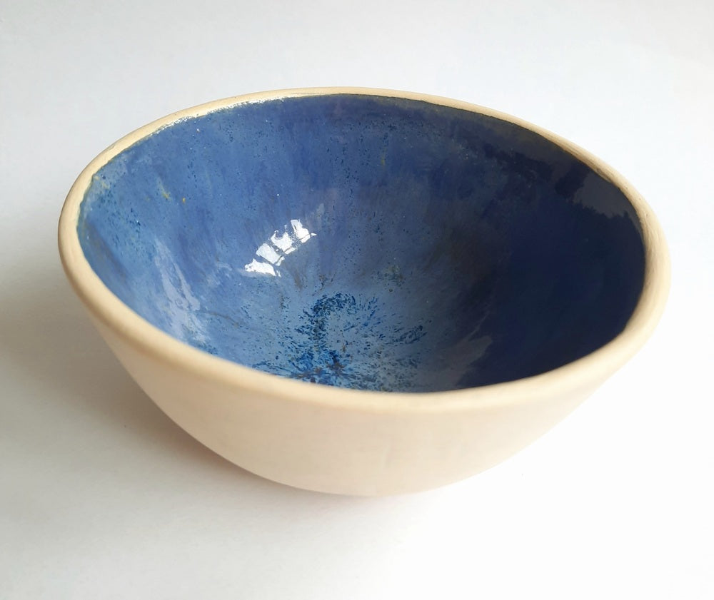 Blue Flowing Glaze Pinchpot