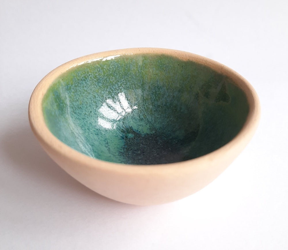 Green Blue Glaze Pinchpot