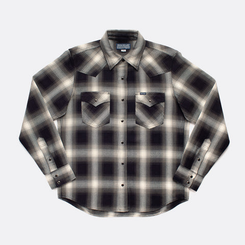 IHSH-276-IND - Western Shirt Ombre Check Iron Heart Germany