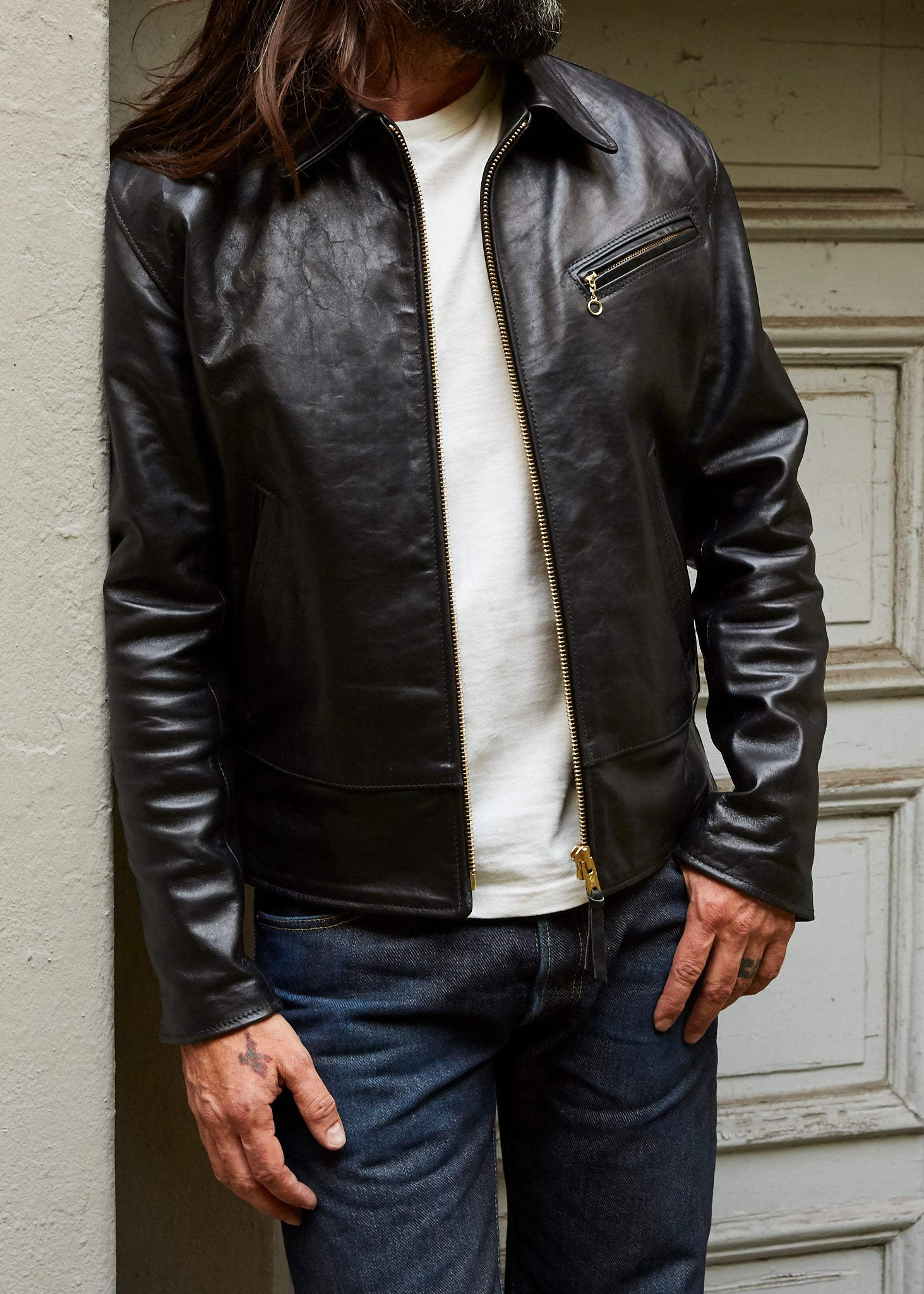 Simmons Bilt Special Made Horween Horsehide Jacket Black