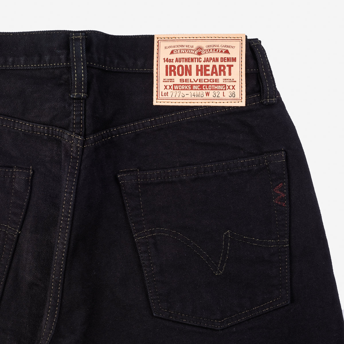 IH-777S-14MB - 14oz Selvedge Denim Jeans Mad Black