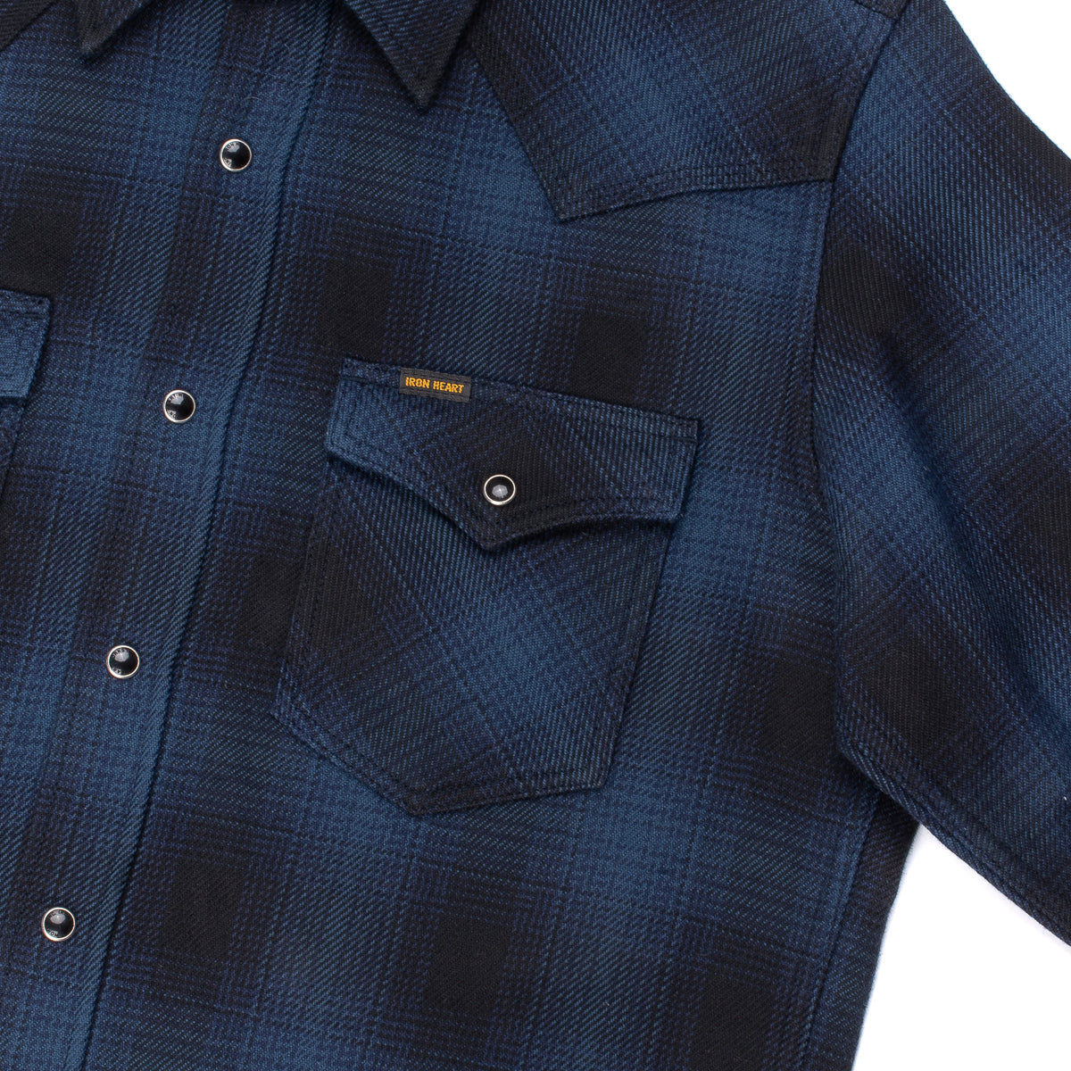 IHSH-264 - Flannel Ombré Check Western Shirt Navy/Black