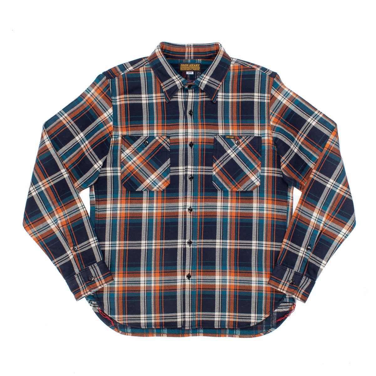 IHSH-263 - Heavy Flannel Work Shirt Navy/ Ivory