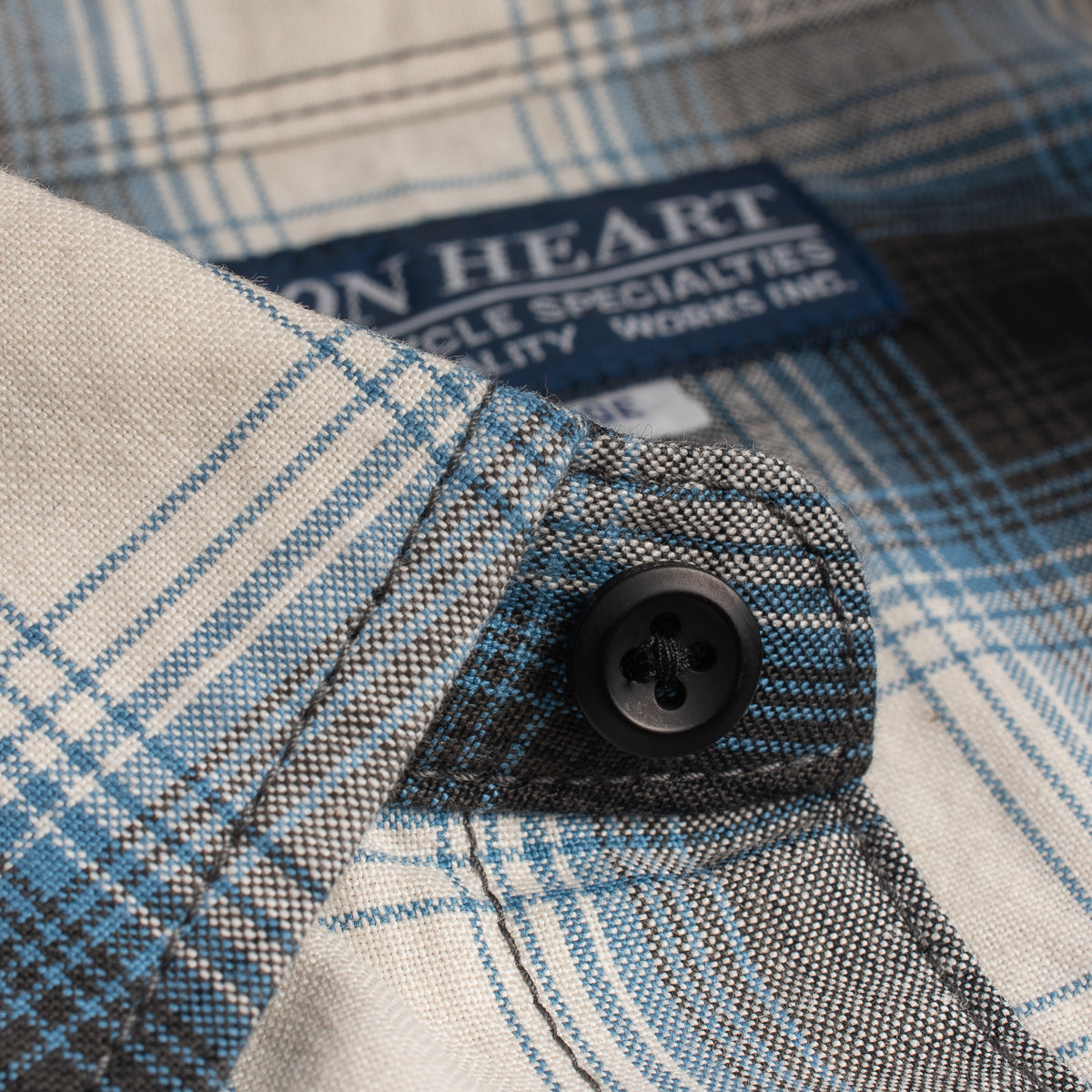 IHSH-280 - 5oz Selvedge Ombré Check Western Shirt Blue/ Grey