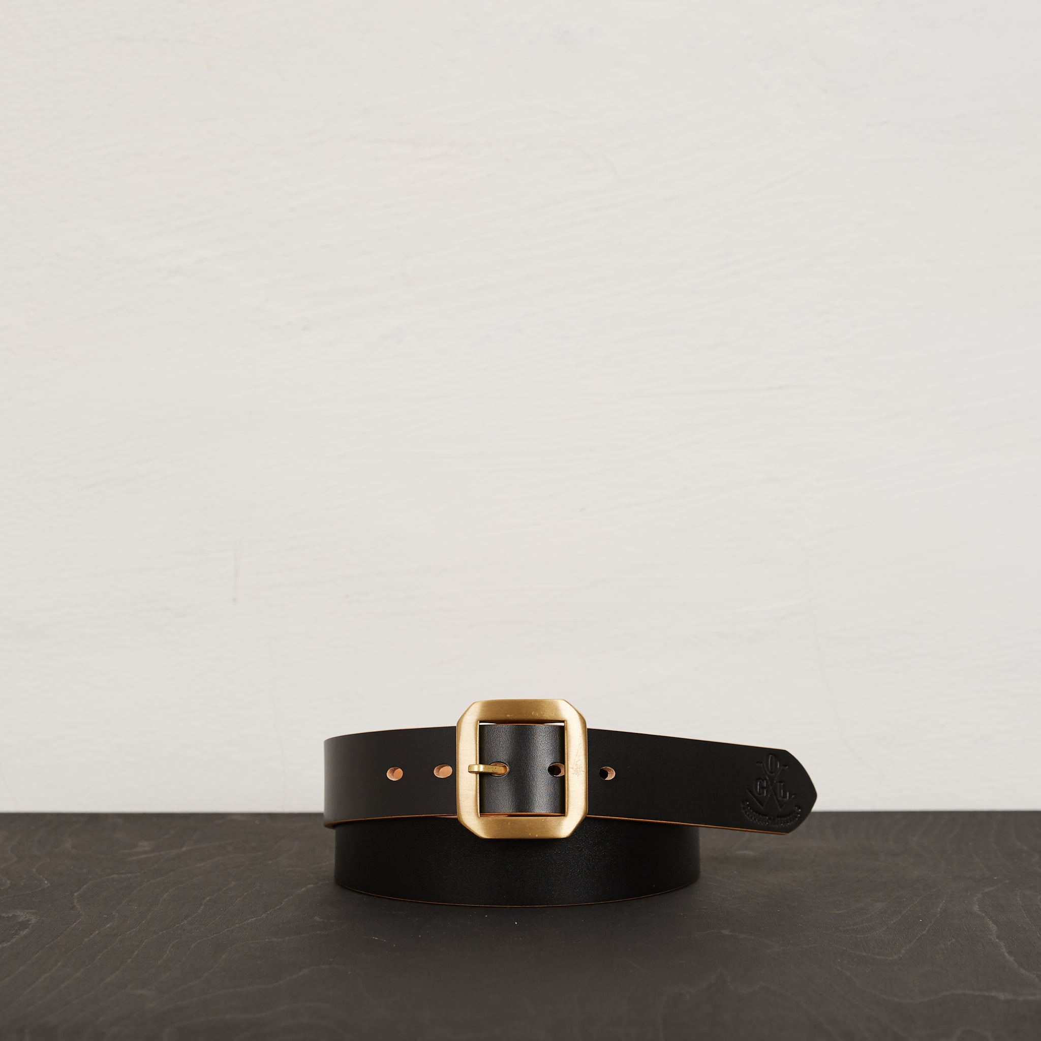 Obbi Good Label Garrison Buckle Leather Belt Black