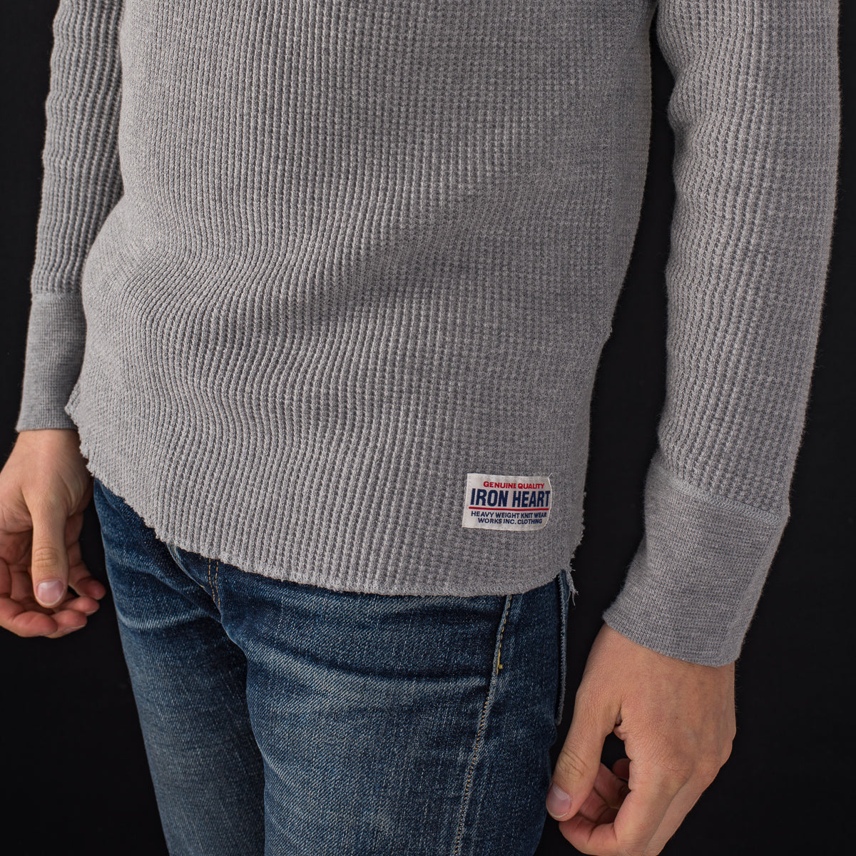 IHTL-1213 - Waffle Knit Long Sleeved Thermal Henley Grey