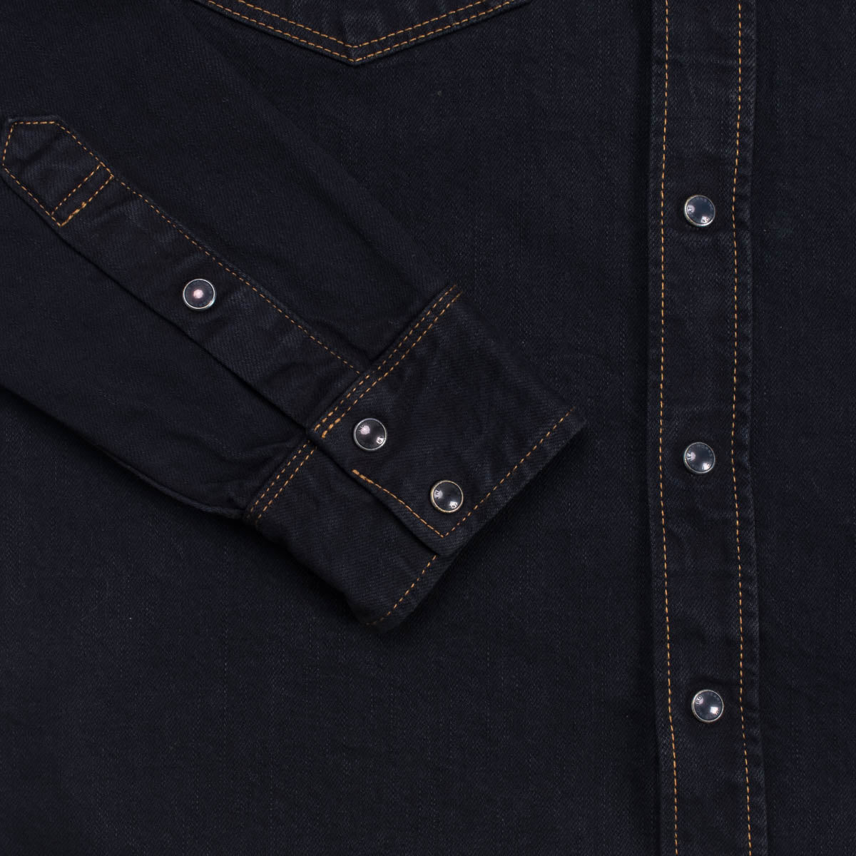 IHSH-33B - 12oz Denim Western Shirt Indigo Overdyed Black