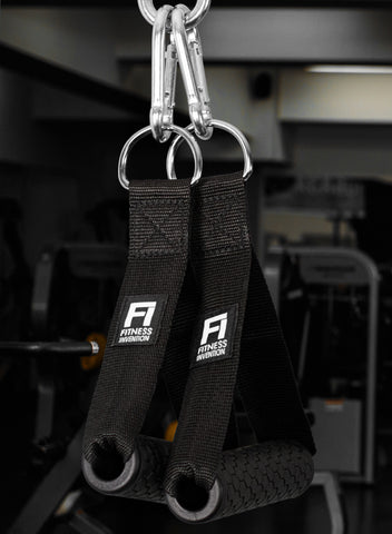 Tricep Rope Pushdown + 2 Gym Handles + 3 Carabiner Clips - Tricep Rope Pulldown - Triceps Rope attachment - Tricep Rope Extension - Gym Accessories