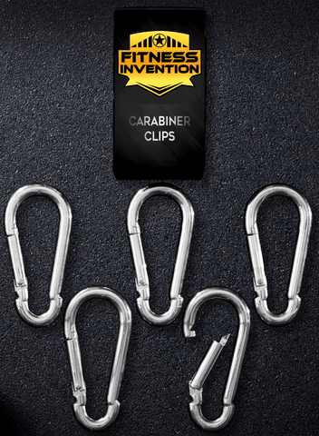 Carabiner Clip Set of 5 - Multi-Purpose Heavy Duty Carabiner Clips - Snap Hook Clips 3.2 Inch - Stainless Steel Carabiner