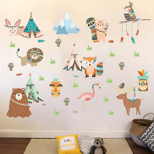 Woodland Tribal Friends Removable Wall Stickers
