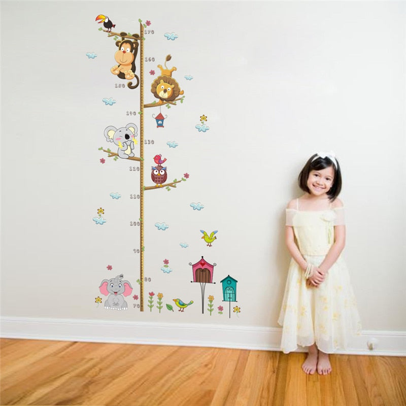 Jungle Friends Height Chart Removable Wall Sticker Set