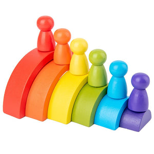 12 Pc Wooden Rainbow Stacker