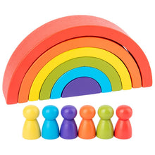 Load image into Gallery viewer, 12 Pc Wooden Rainbow Stacker