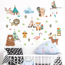 Load image into Gallery viewer, Woodland Tribal Friends Removable Wall Stickers