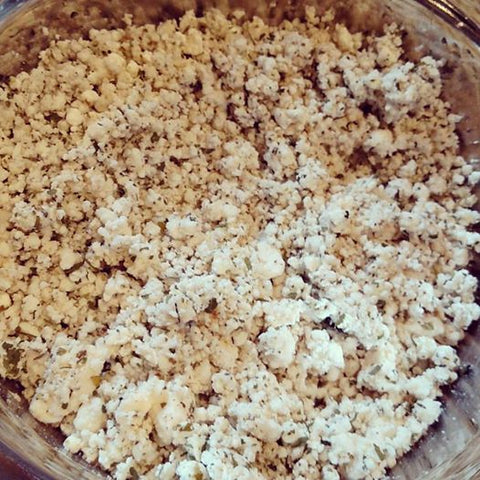 Handmade herbed goat cheese crumbles