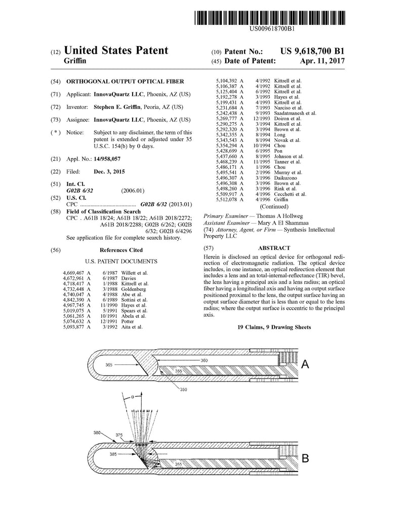 IQ receives US Patent for Right Angle Output Side Firing Fiber