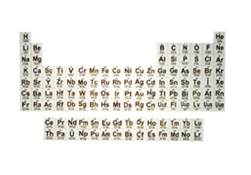 Complete Periodic Table -- Pack of 118 Alumina Wafers, Laser Marked