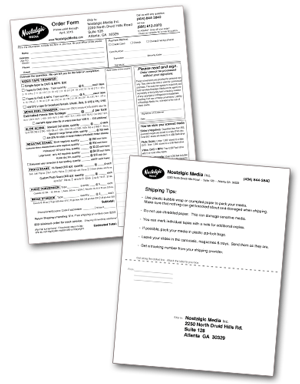 Nostalgic Media Order Form and Shipping Label