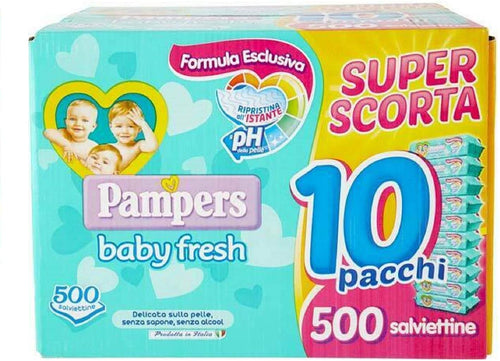 Pampers Baby Fresh Super Scorta 500 salviette (10 pacchi da 50 salviette) - Miriade Shop