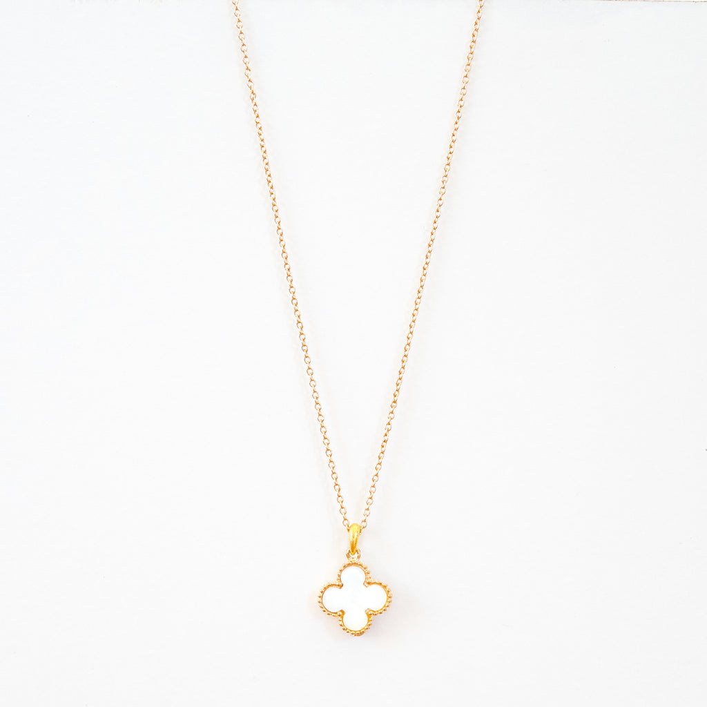 Short White Clover Necklace