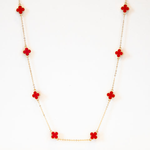 Short Spade Necklace in Red