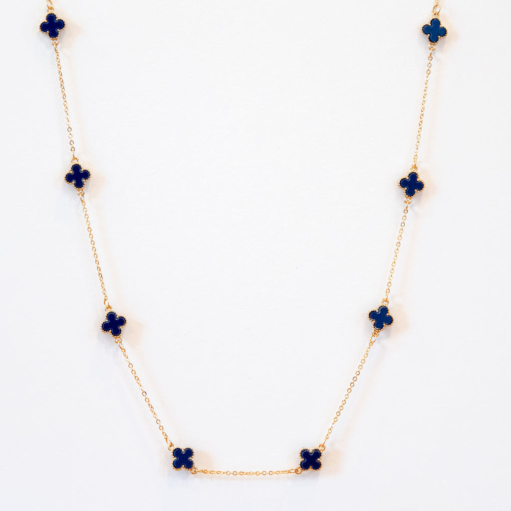 Short Spade Necklace in Navy