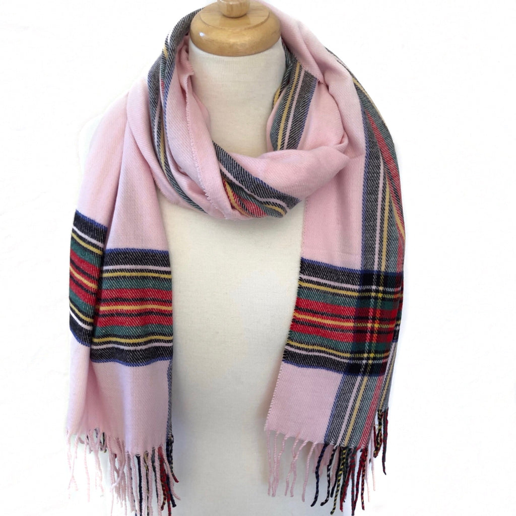 Light Pink Plaid Oblong Scarf