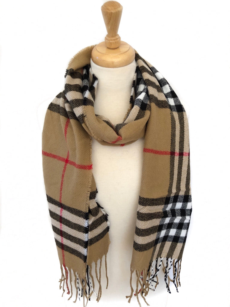 Tan, Black, White and Red Plaid Oblong Scarf