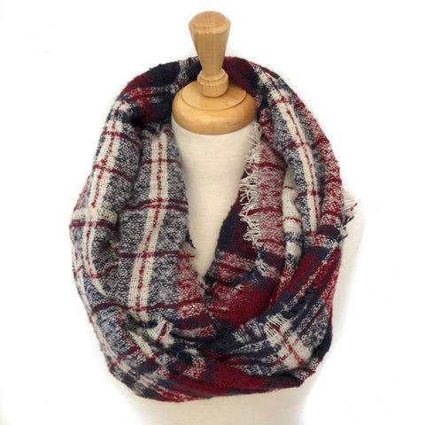 Burgundy, Navy and Beige Infinity Scarf