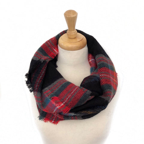 Black, Red, Blue and Green Plaid Infinity Scarf
