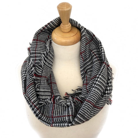 Black, Red and White Plaid Scarf