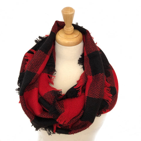 Red/ Black Buffalo Plaid Infinity Scarf