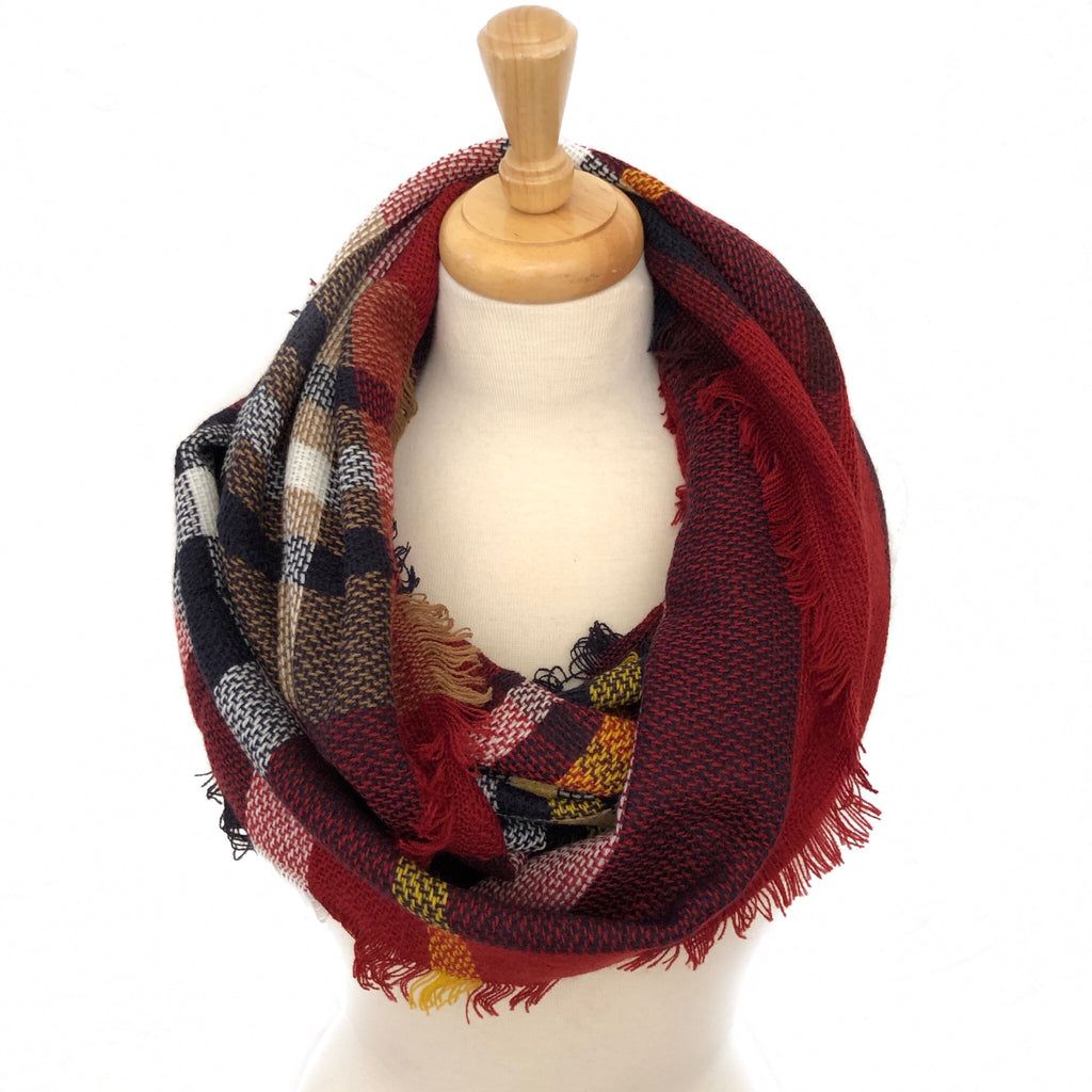 Burgundy, Black, Tan and White Plaid Infinity Scarf
