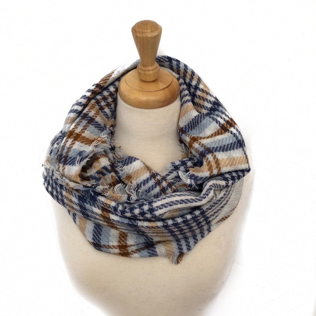 Blue, Brown and Beige Plaid Infinity Scarf