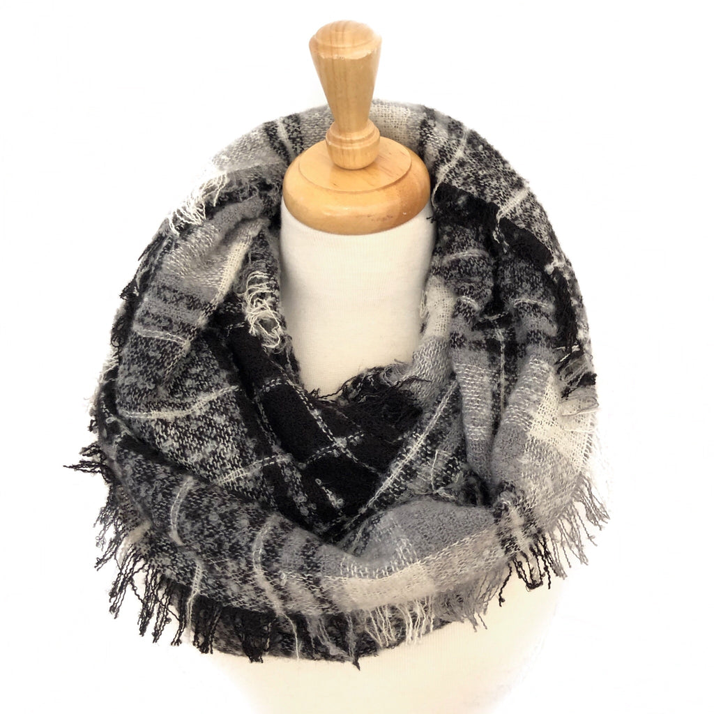 Black, Grey and White Plaid Infinity Scarf