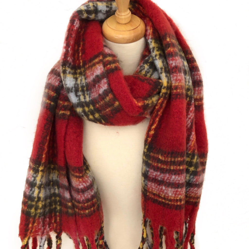 Red Plaid Soft Oblong Scarf With Fringe