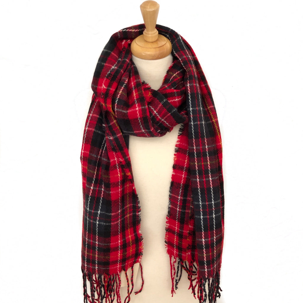 Red Plaid Oblong Scarf