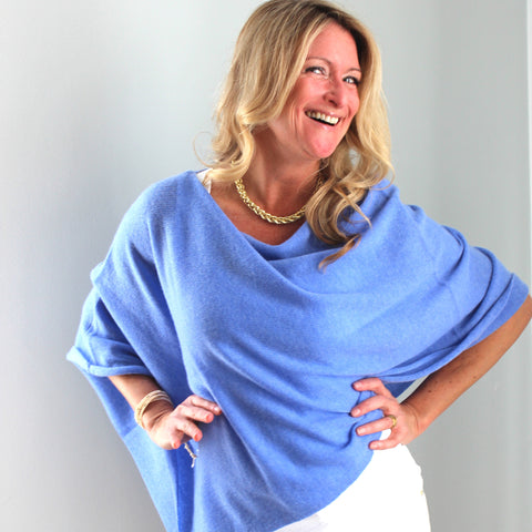 "100% Cashmere Dress Topper in ""Blue Horizon"""