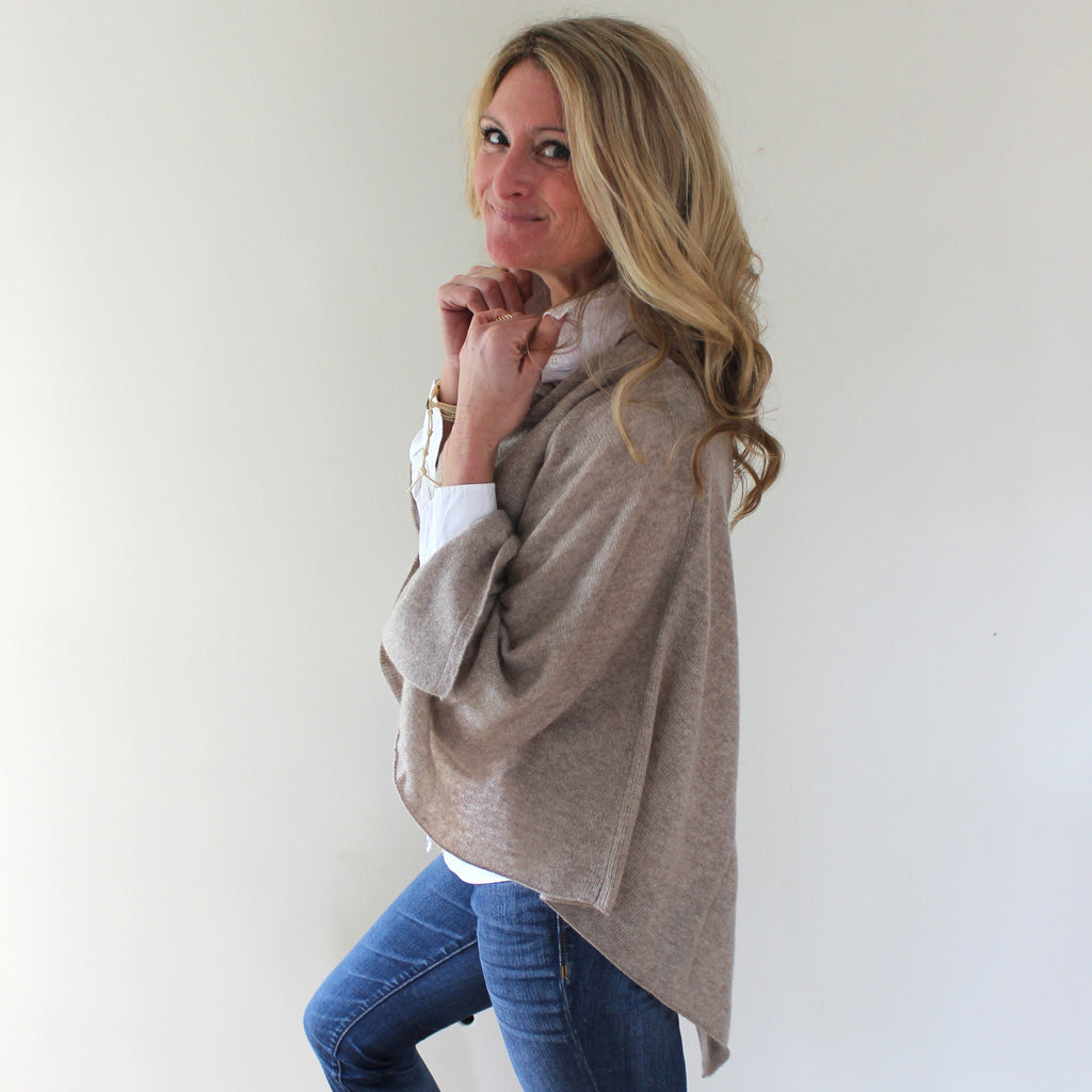 "100 % Cashmere Dress Topper in ""Natural"""